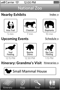 High-fidelity wireframe of main screen of iPhone application for visitors to the National Zoo.